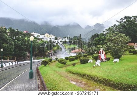 Furnas, Azores, Portugal - Jan 13, 2020: Volcanic Hot Springs In Portuguese Furnas. Steam Coming Fro