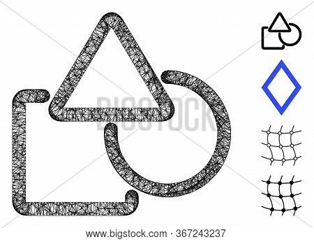 Mesh Geometric Objects Web Icon Vector Illustration. Abstraction Is Based On Geometric Objects Flat