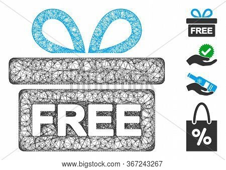 Mesh Free Gift Web 2d Vector Illustration. Model Is Based On Free Gift Flat Icon. Mesh Forms Abstrac