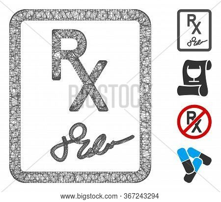 Mesh Prescription Page Web Icon Vector Illustration. Carcass Model Is Based On Prescription Page Fla