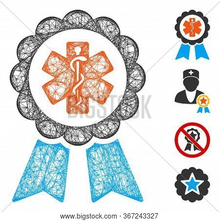 Mesh Medical Ribbon Award Web Symbol Vector Illustration. Carcass Model Is Based On Medical Ribbon A