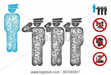 Mesh Army Squad Web Symbol Vector Illustration. Carcass Model Is Based On Army Squad Flat Icon. Mesh