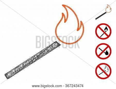 Mesh Match Fire Web Icon Vector Illustration. Carcass Model Is Created From Match Fire Flat Icon. Me