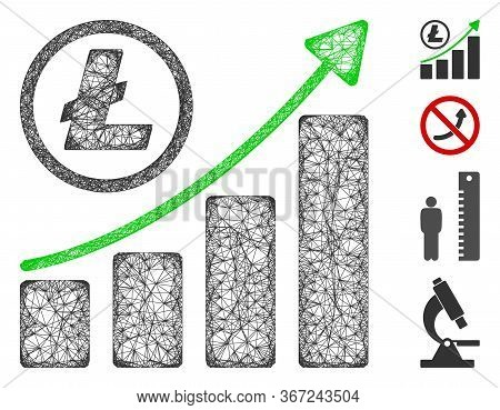 Mesh Litecoin Growing Graph Trend Web 2d Vector Illustration. Carcass Model Is Based On Litecoin Gro