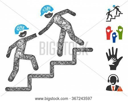 Mesh Workers Help Web Symbol Vector Illustration. Model Is Based On Workers Help Flat Icon. Mesh For