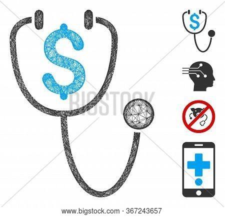 Mesh Dollar Health Web Icon Vector Illustration. Carcass Model Is Based On Dollar Health Flat Icon.