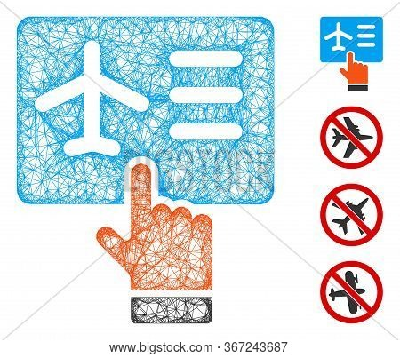 Mesh Airline Ticket Booking Web Icon Vector Illustration. Carcass Model Is Based On Airline Ticket B