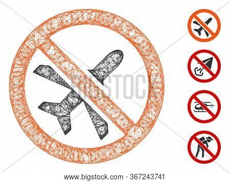 Mesh Forbidden Airplane Web Icon Vector Illustration. Abstraction Is Based On Forbidden Airplane Fla