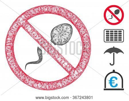 Mesh Contraception Web Icon Vector Illustration. Model Is Based On Contraception Flat Icon. Mesh For