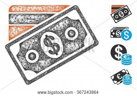 Mesh Money Web Icon Vector Illustration. Model Is Based On Money Flat Icon. Mesh Forms Abstract Mone