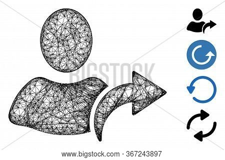 Mesh Redo Web Icon Vector Illustration. Carcass Model Is Based On Redo Flat Icon. Network Forms Abst