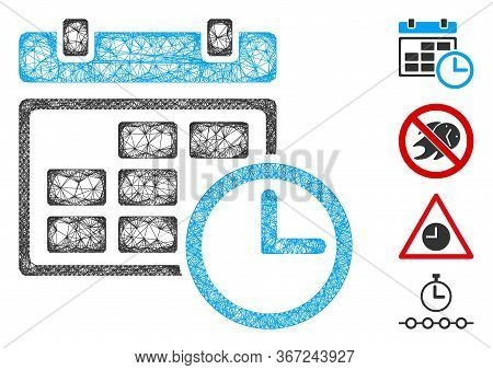 Mesh Date And Time Web 2d Vector Illustration. Carcass Model Is Based On Date And Time Flat Icon. Me