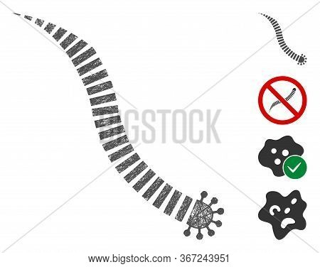 Mesh Parasite Worm Web Icon Vector Illustration. Carcass Model Is Based On Parasite Worm Flat Icon.