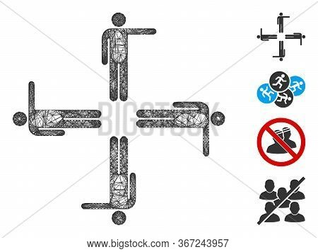 Mesh Pointing Men Web Icon Vector Illustration. Model Is Based On Pointing Men Flat Icon. Network Fo