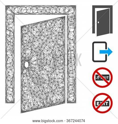 Mesh Door Web Symbol Vector Illustration. Carcass Model Is Based On Door Flat Icon. Mesh Forms Abstr