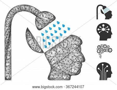 Mesh Open Mind Shower Web 2d Vector Illustration. Model Is Based On Open Mind Shower Flat Icon. Netw
