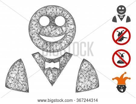 Mesh Glad Waiter Web Icon Vector Illustration. Model Is Based On Glad Waiter Flat Icon. Mesh Forms A