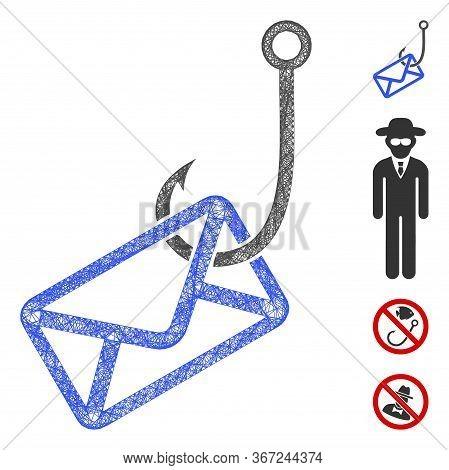 Mesh Mail Phishing Hook Web 2d Vector Illustration. Carcass Model Is Based On Mail Phishing Hook Fla