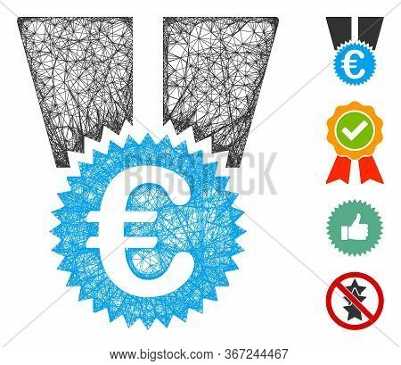 Mesh Euro Medal Web Icon Vector Illustration. Carcass Model Is Based On Euro Medal Flat Icon. Mesh F