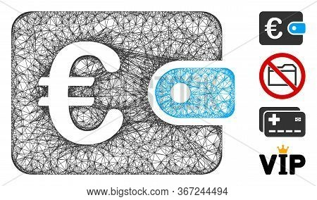 Mesh Euro Purse Web Symbol Vector Illustration. Carcass Model Is Based On Euro Purse Flat Icon. Mesh