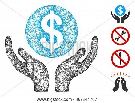 Mesh Financial Maintenance Hands Web Icon Vector Illustration. Carcass Model Is Based On Financial M