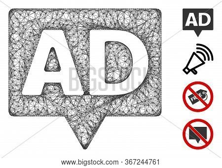 Mesh Ad Banner Web Icon Vector Illustration. Carcass Model Is Based On Ad Banner Flat Icon. Network