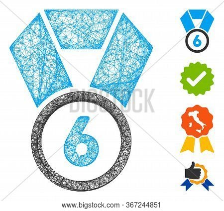 Mesh 6th Place Medal Web Symbol Vector Illustration. Model Is Based On 6th Place Medal Flat Icon. Me