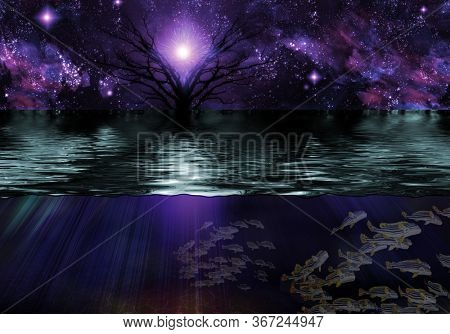 Tranquil Scene. Vivid starry sky and tree. Underwater view. 3D rendering
