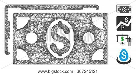 Mesh Dollar Banknotes Web 2d Vector Illustration. Carcass Model Is Based On Dollar Banknotes Flat Ic