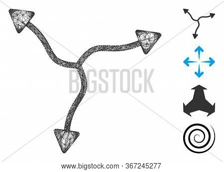 Mesh Curve Arrows Web Icon Vector Illustration. Carcass Model Is Based On Curve Arrows Flat Icon. Ne