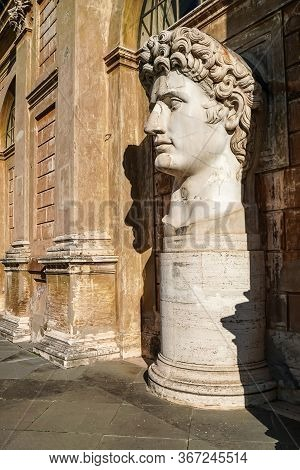 Sunshine On Caesar Augustus Head Statue In Vatican