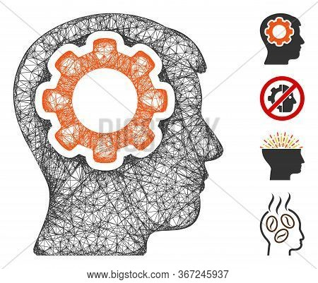 Mesh Human Mind Gear Web Icon Vector Illustration. Carcass Model Is Based On Human Mind Gear Flat Ic