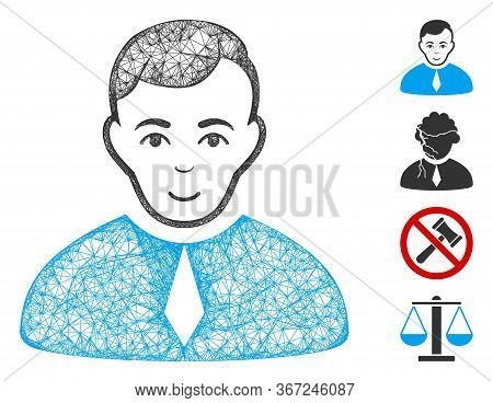 Mesh Lawyer Web Icon Vector Illustration. Model Is Based On Lawyer Flat Icon. Network Forms Abstract