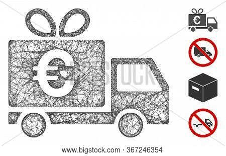 Mesh Euro Gift Delivery Web Icon Vector Illustration. Carcass Model Is Based On Euro Gift Delivery F
