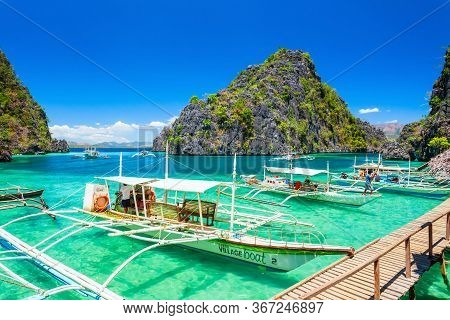 Coron Island, Philippines - March 12, 2013: Blue Lagoon Tropical Landscape At The Coron Island Bay I