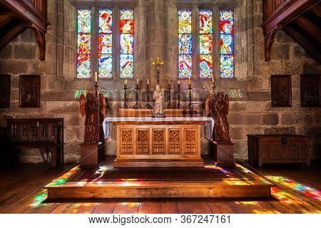 Guimaraes, Portugal - July 11, 2014: Palace Of The Dukes Of Braganza Chapel Interior, A Medieval Est