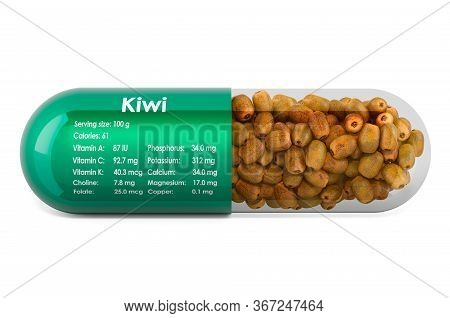 Kiwi, Vitamins And Minerals Composition In Kiwifruits. 3d Rendering Isolated On White Background