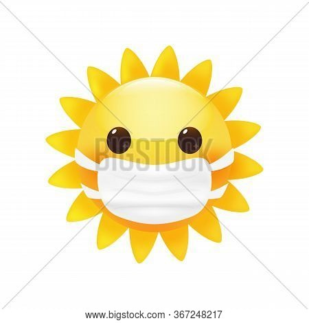 Cute Little Sun In A Face Protective Mask. Anti Virus Concept. Bright Cartoon Style. Premium Vector.