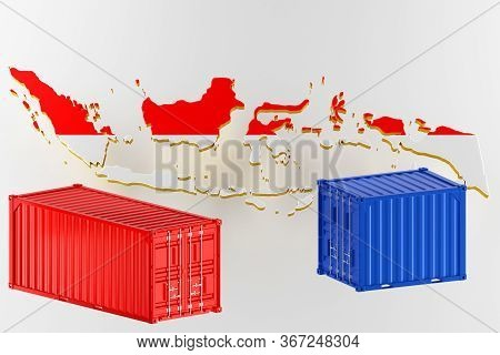 3d Map Of Indonesia. Freight Shipping In Containers. Export From The Country In Containers. 3d Rende