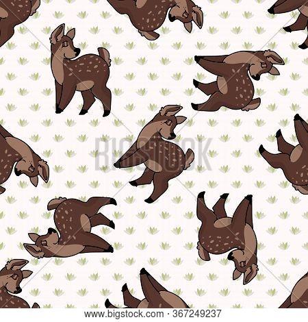 Kawaii Cartoon Doe Deer Seamless Pattern. Cute Doe Animal Flat Color Background. Childish Hand Drawn