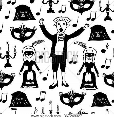 Vector Wolfgang Amadeus Mozart Repeating Seamless Pattern Background With Mozart, His Wife, Carnival