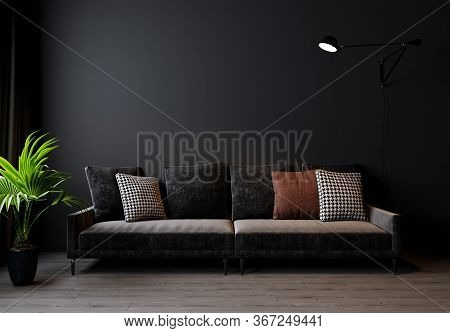 Modern Living Room Interior Background, Dark Wall, Scandinavian Style, 3D Illustration. Living Room