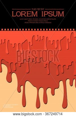 Template For Festival Horror Movie. Horror Movie Poster Design With Streaks Of Blood And Blood Drops