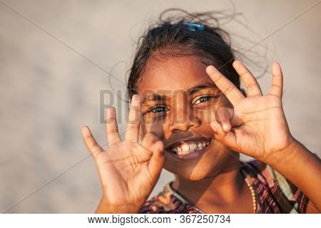 Goa, India - November 08, 2011: Unidentified Indian Girl Posing At The Beach In Goa In India