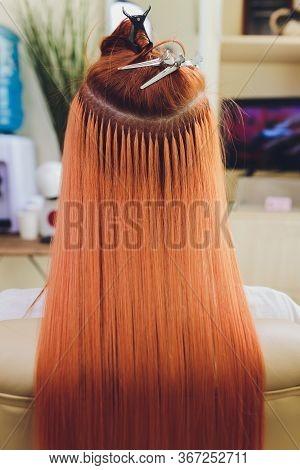 Hair Salon, Beauty Spa. Procedure Of Hair Extensions.