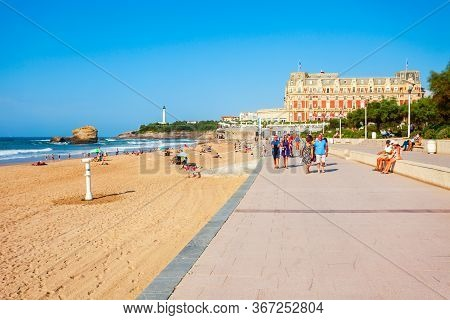 Biarritz, France - September 18, 2018: Promenade At The La Grande Plage, Public Beach In Biarritz Ci