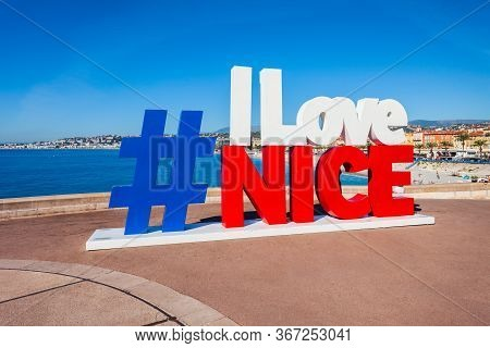 Nice, France - September 27, 2018: I Love Nice Sign Located In The Nice City In Southern France
