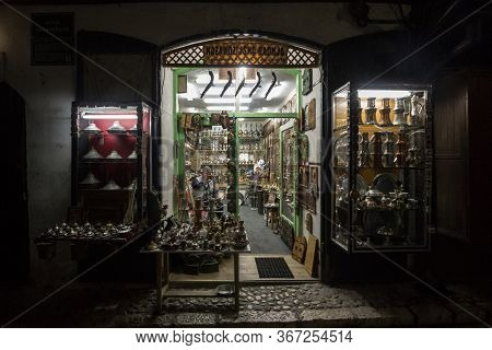 Sarajevo, Bosnia - April 15, 2017: Souvenir Shop In Bascarsija District Of Sarajevo At Night, With T