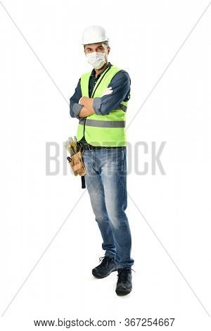 Manual worker wearing protective face mask and gloves to avoid Coronavirus epidemic isolated on white background.