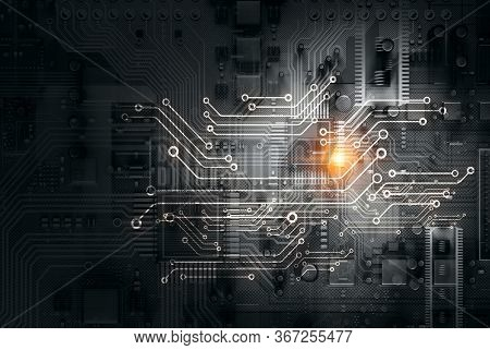 Black circuit board background of computer motherboard